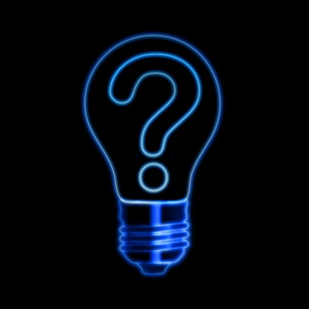 Blue neon light bulb with question sign photo