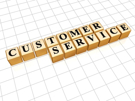 Customer Service  white text on 3d gold boxes Stock Photo - 13417504