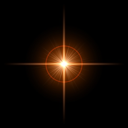 white star line: Abstract lens flare light over dark background Stock Photo