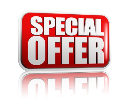 best offer: Special offer red banner with white letters Stock Photo