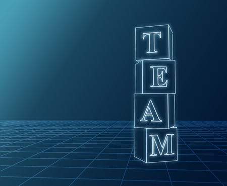 3d glass boxes with text team over blue photo