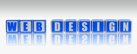 Web design text on 3d white and blue boxes photo