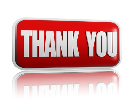 happy client: Thank you red banner with white letters Stock Photo