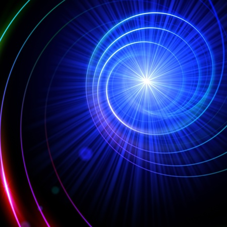 abstract spiral with lens flare light over black photo