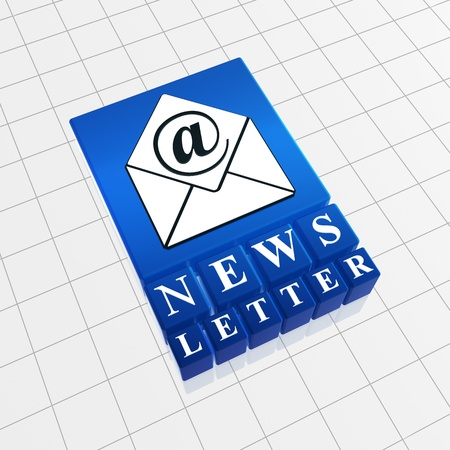 Newsletter concept image of text and email sign  with envelope Stock Photo - 13544439
