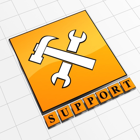 Yellow abstract icon with text support and tools Stock Photo - 13544440