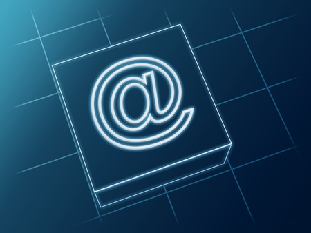 wire glowing email sign over box and net Stock Photo - 13544393