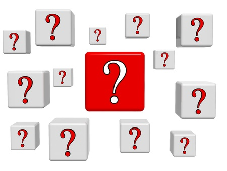 3d white and red boxes with question sign Stock Photo - 13544384