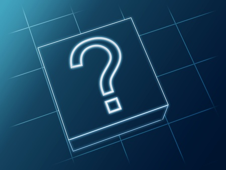 wire glowing question sign over box and net Stock Photo - 13544387