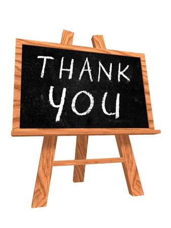Thank you text on isolated black board photo