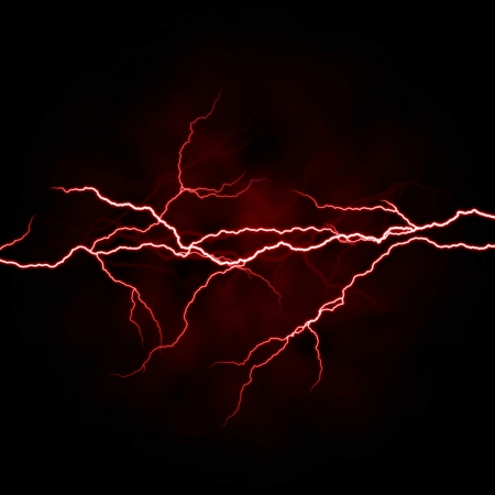electrical white red lightning over dark background Stock Photo