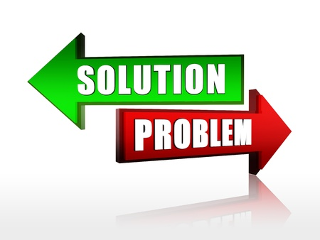 Red and green color arrows with text solution problem Stock Photo
