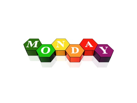 3d coloured hexagons with letters makes monday photo