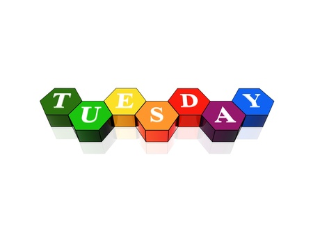 3d coloured hexagons with letters makes tuesday photo