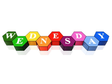 weekday: 3d coloured hexagons with letters makes wednesday