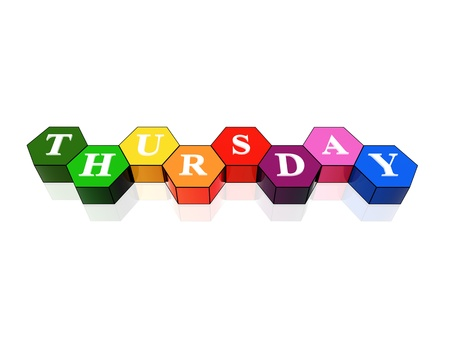 thursday: 3d coloured hexagons with letters makes thursday