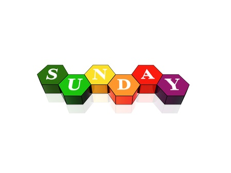 3d coloured hexagons with letters makes sunday photo