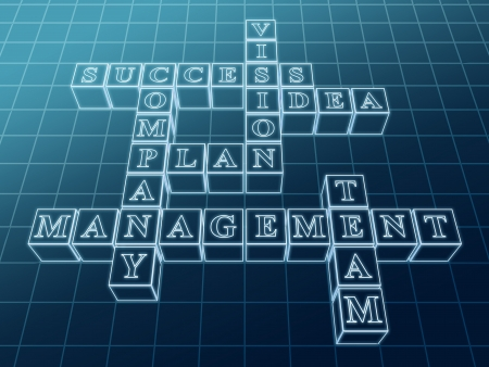 3d glass crossword from boxes over blue with business words - success; plan; idea; company; vision; management; team photo