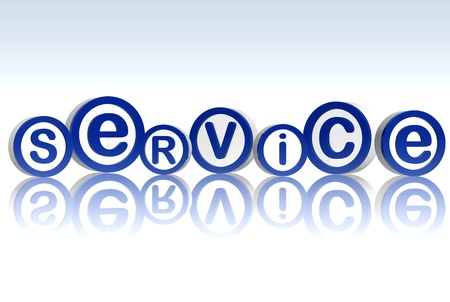 3d blue circles with letters makes word service photo