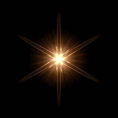 garish: abstract lens flare light hexagram over dark background