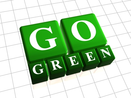 Go green 3d boxes with white letters photo
