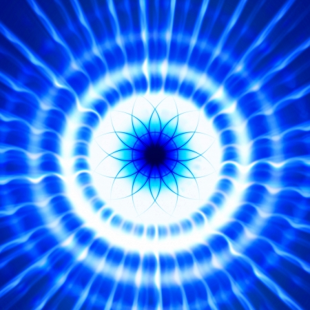 Abstract blue ray light background with flower photo