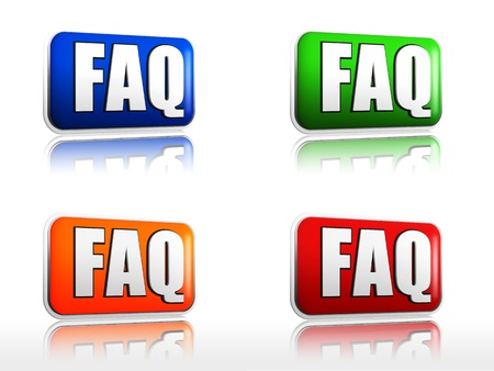 Four color buttons FAQ red, blue, orange, green Stock Photo - 13759001