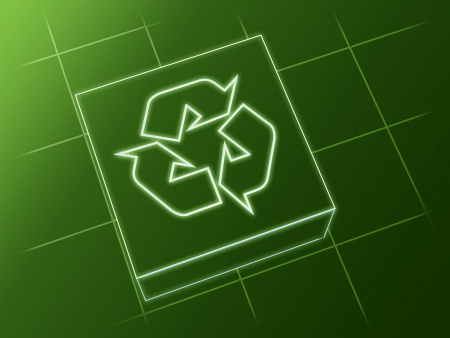 wire glowing recycle sign over box and net photo