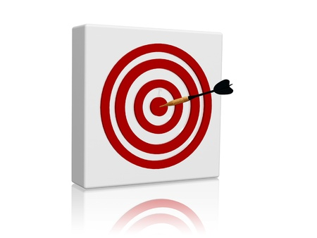White target with red circles and golden arrow in center photo