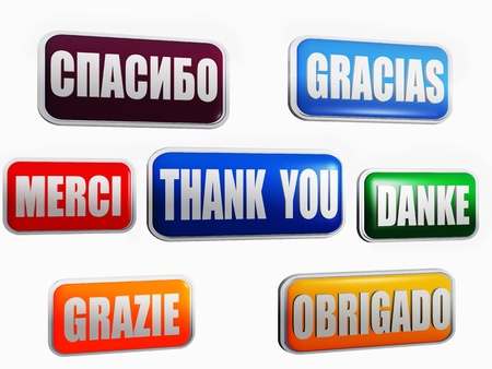 Thank you in different languages and colors photo