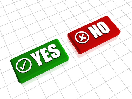 Yes and no 3d red and green blocks with text and signs Stock Photo - 13840963