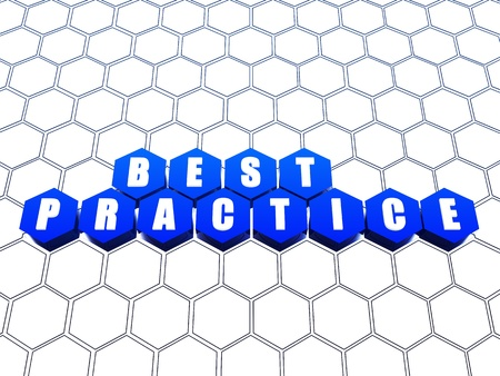 Best practice blue hexagons over white net Stock Photo - 13841013