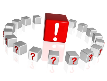 understanding: 3d white and red boxes with question and attention sign