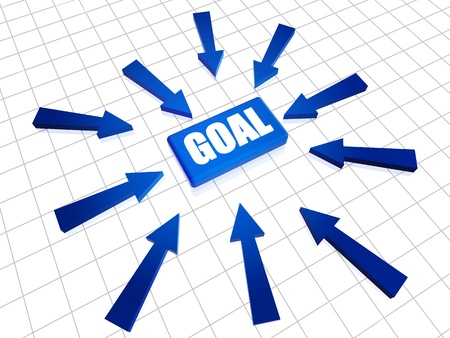 resourceful: Blue text goal 3d box with arrows over white Stock Photo