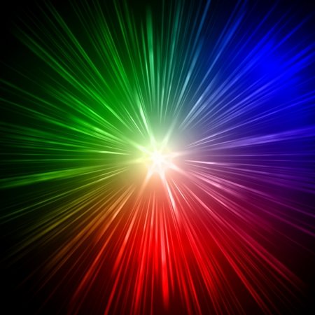 abstract color lens flare light over black background photo