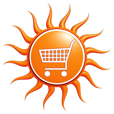 White Shopping cart over 3d yellow sun photo