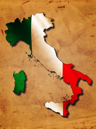 Italian map with flag over old paper photo