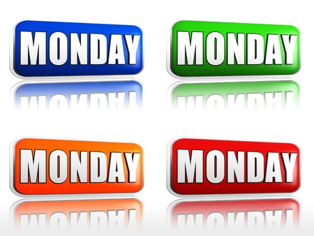 Monday Four color buttons with sign red, blue, orange, green photo