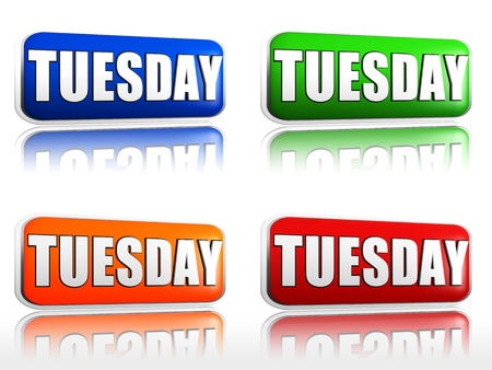 tuesday: Tuesday Four color buttons with sign red, blue, orange, green
