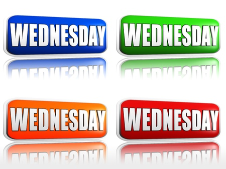 wednesday: Wednesday Four color buttons with sign red, blue, orange, green Stock Photo