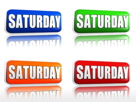 weekday: Saturday Four color buttons with sign red, blue, orange, green