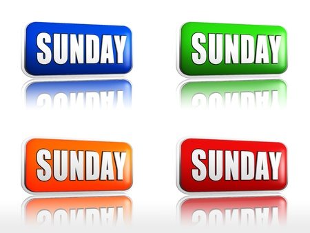 weekday: Sunday Four color buttons with sign red, blue, orange, green Stock Photo