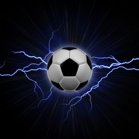 Football ball with blue lightning over rays