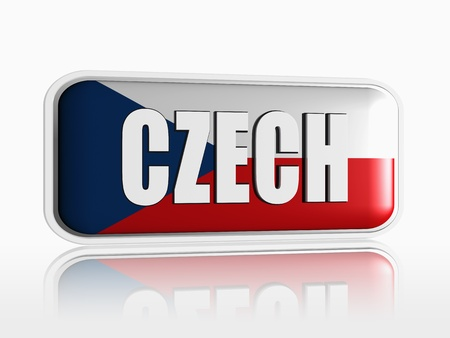 Czech flag 3d banner with white text Stock Photo - 13876248