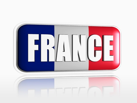 French flag 3d banner with white text photo