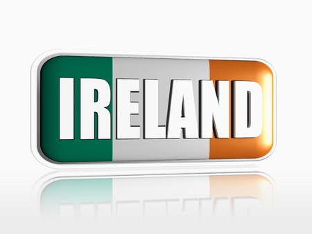 Irish flag 3d banner with white text Stock Photo - 13876244