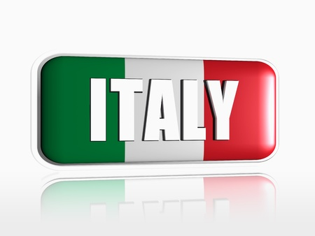 Italian flag 3d banner with white text Stock Photo - 13876236