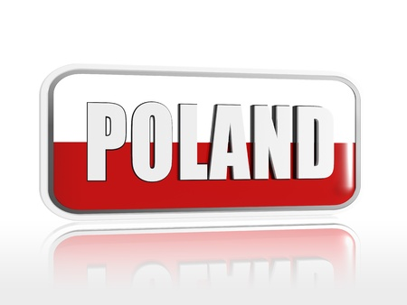 Polish flag 3d banner with white text Stock Photo - 13876243