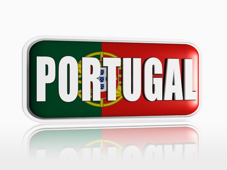 Portuguese flag 3d banner with white text Stock Photo - 13876260