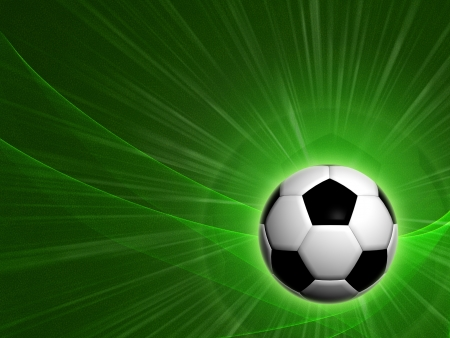 Abstract background 3d football ball over green field photo